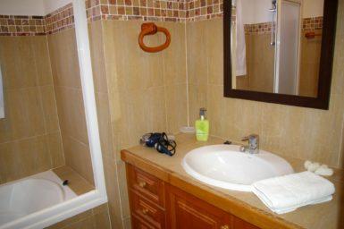 Badezimmer mit Wanne und Duschvorrichtung