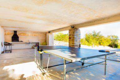 Überdachte Terrasse mit Tischtennisplatte