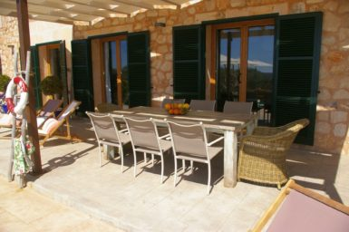 Essplatz auf der überdachten Terrasse